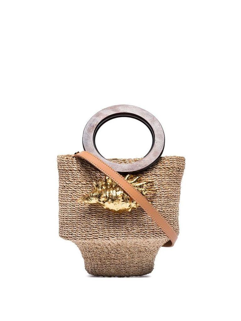 Aranaz Kailei shell raffia bucket bag - Brown