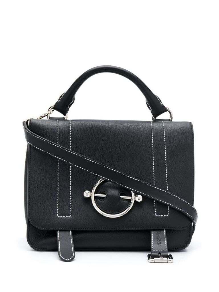 JW Anderson contrast stitching Disc satchel - Black