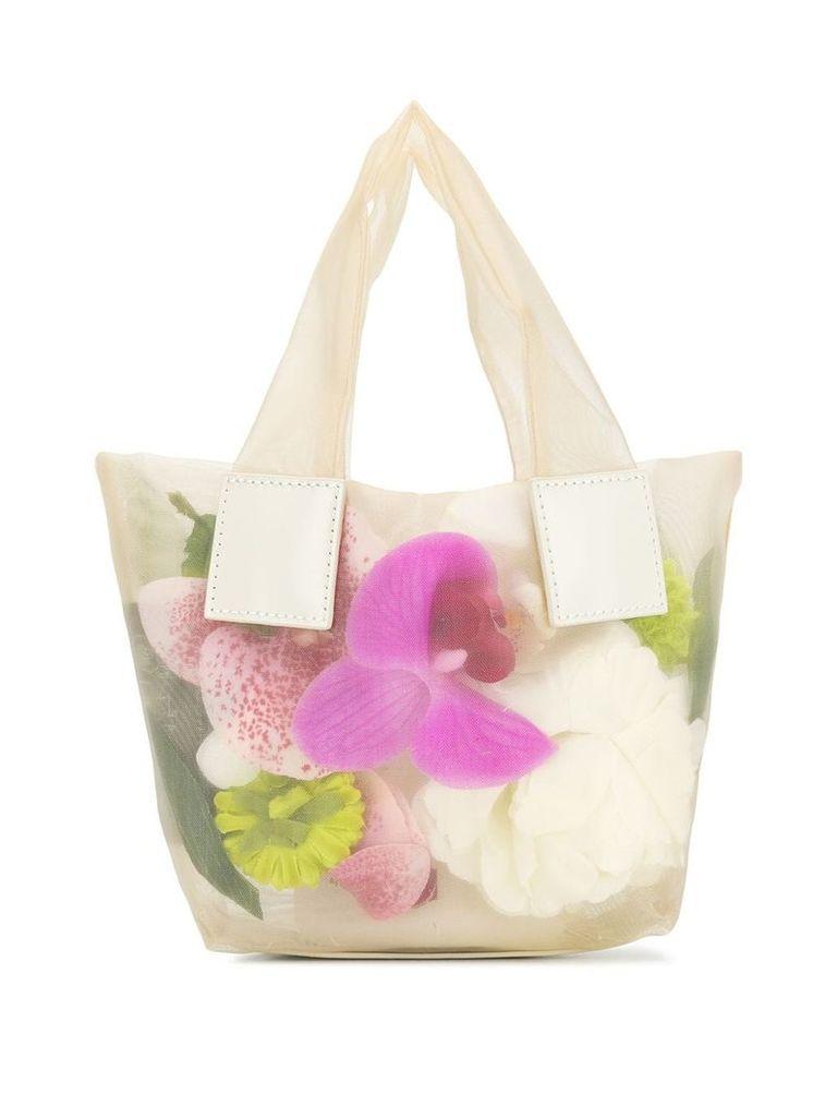 Kara mini floral print tote bag - Neutrals