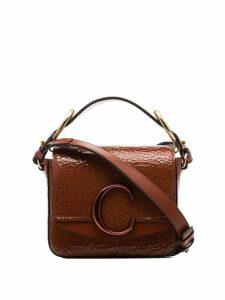 Chloé C-ring embellished shoulder bag - Brown