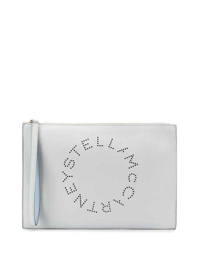 Stella McCartney perforated logo clutch - Blue