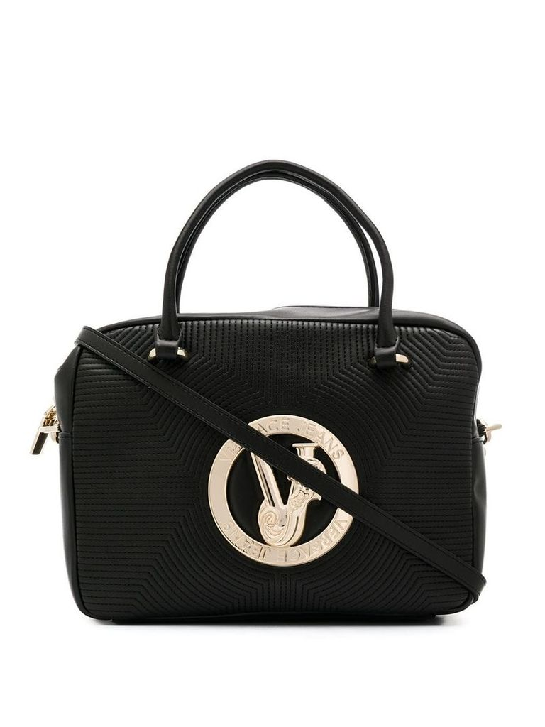 Versace Jeans logo plaque tote bag - Black