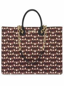 Miu Miu Jacquard and leather tote - Black