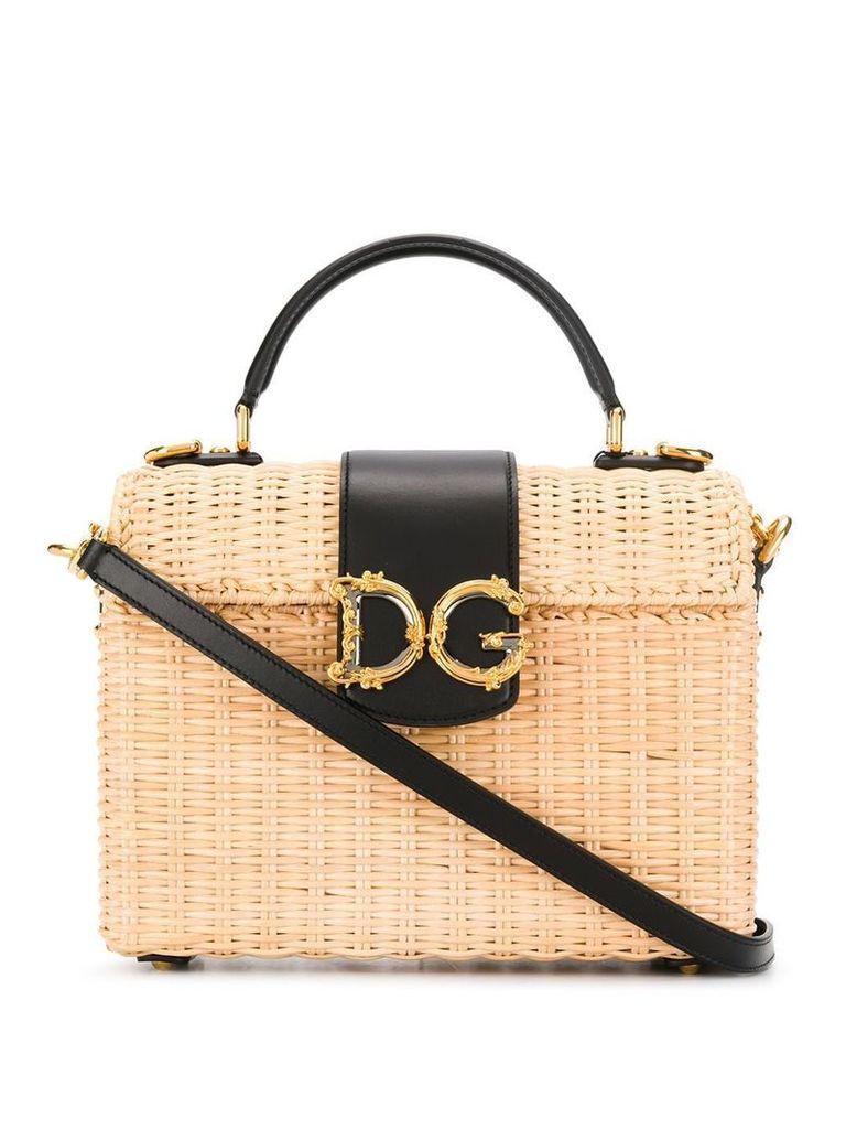 Dolce & Gabbana logo straw bag - Neutrals