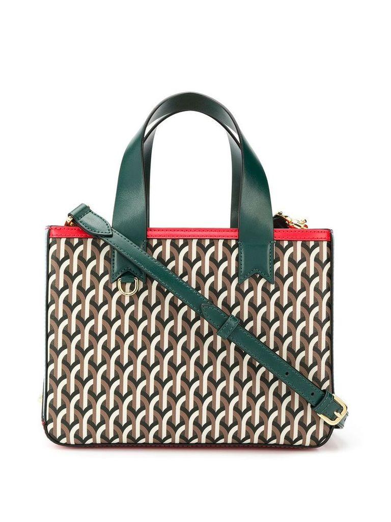 Dell' Est geometric print tote bag - Brown
