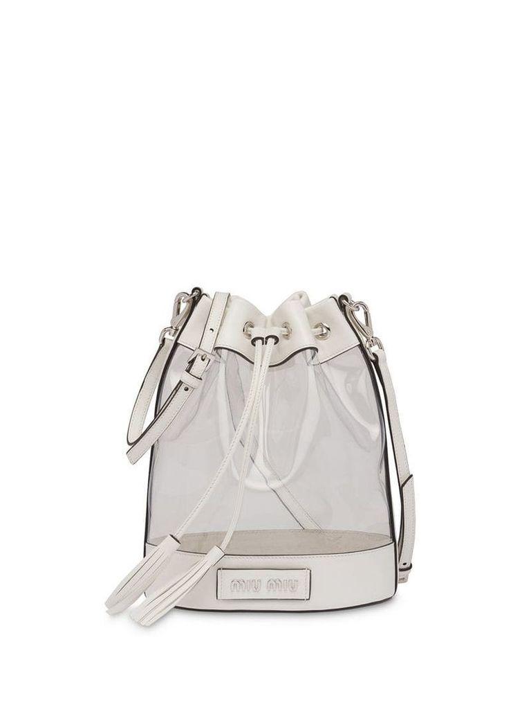 Miu Miu logo plaque bucket bag - White