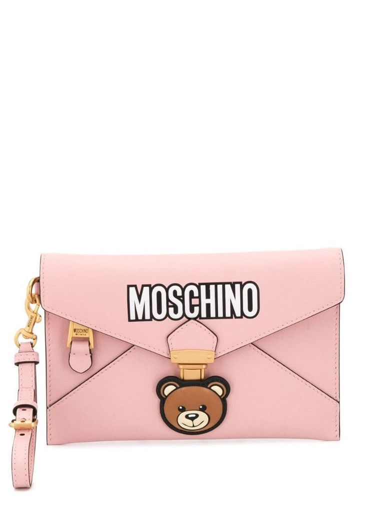 Moschino Teddy logo clutch - Pink