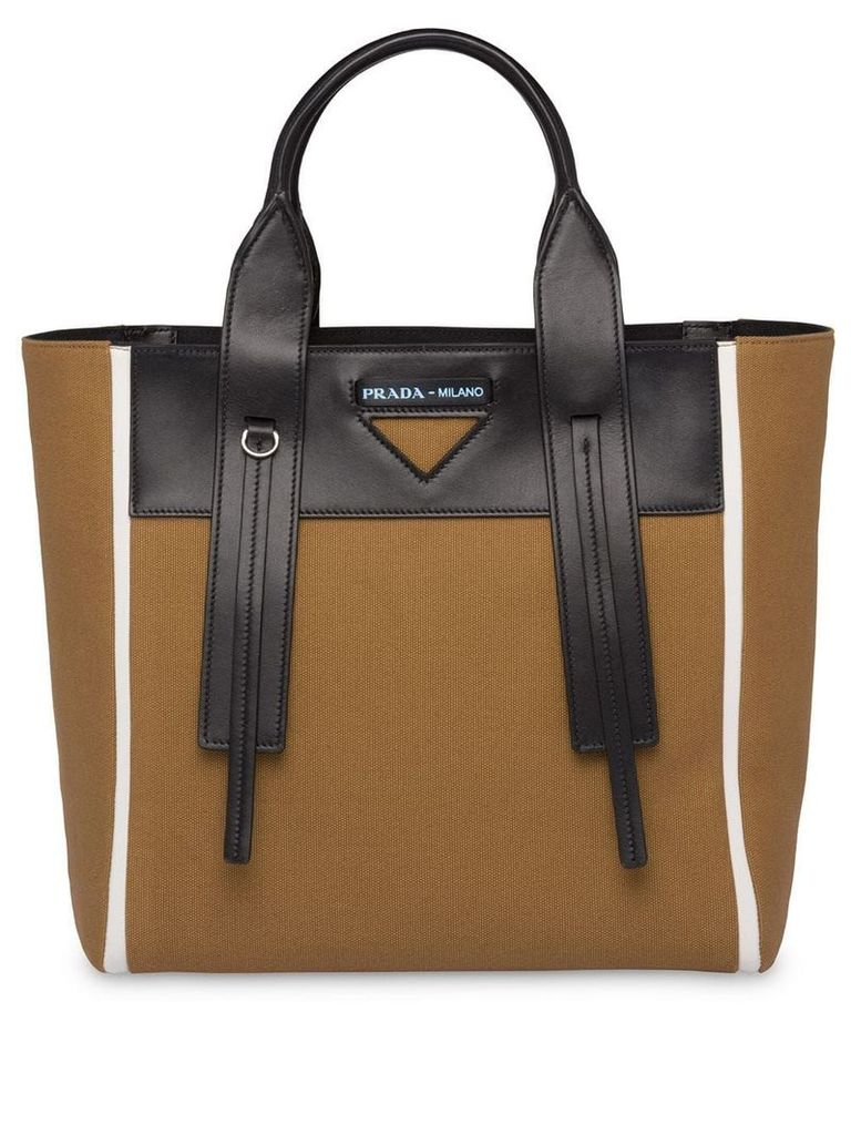 Prada Prada Ouverture canvas and leather bag - Brown