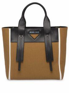 Prada Prada Ouverture canvas and leather bag - Brown