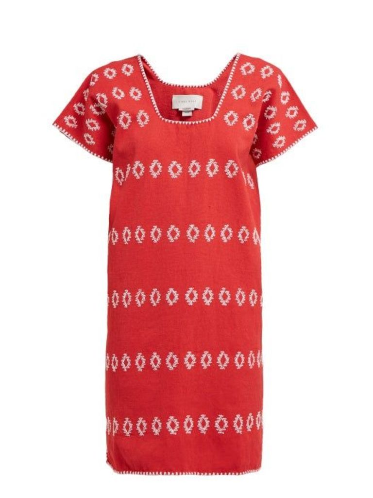 Pippa Holt - No. 78 Embroidered Cotton Kaftan - Womens - Red Multi