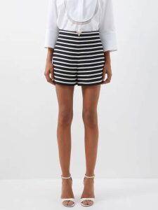 Rhode - Jagger Ruffled Cotton Wrap Dress - Womens - Black