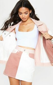 Multi Colour Block Denim Skirt, Multi