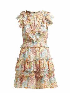 Rebecca Taylor - Ava Ruffled Floral Print Silk Blend Dress - Womens - Multi