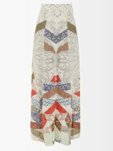 Petar Petrov - Delway Snake Print Silk Midi Dress - Womens - Blue Multi
