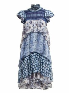 Diane Von Furstenberg - Matilda Tiered Ruffled Dress - Womens - Blue Print