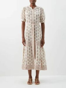 Biyan - Ramadini Floral Appliqué Satin Coat - Womens - Black Blue
