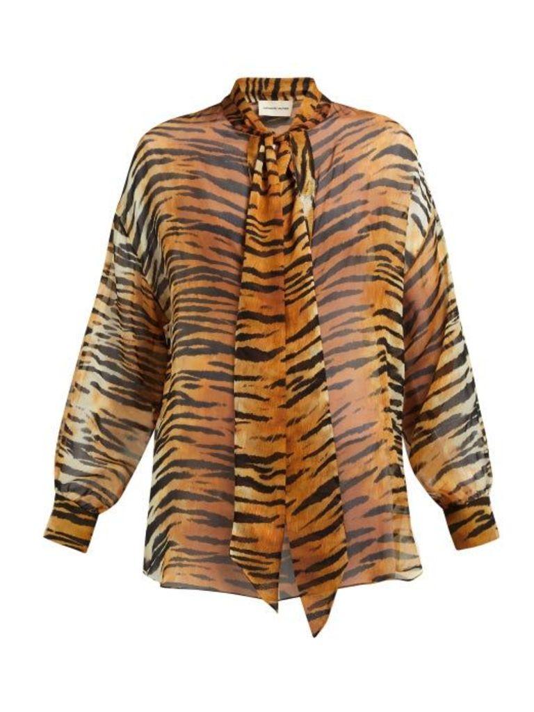 Alexandre Vauthier - Tiger Print Silk Chiffon Blouse - Womens - Brown Print