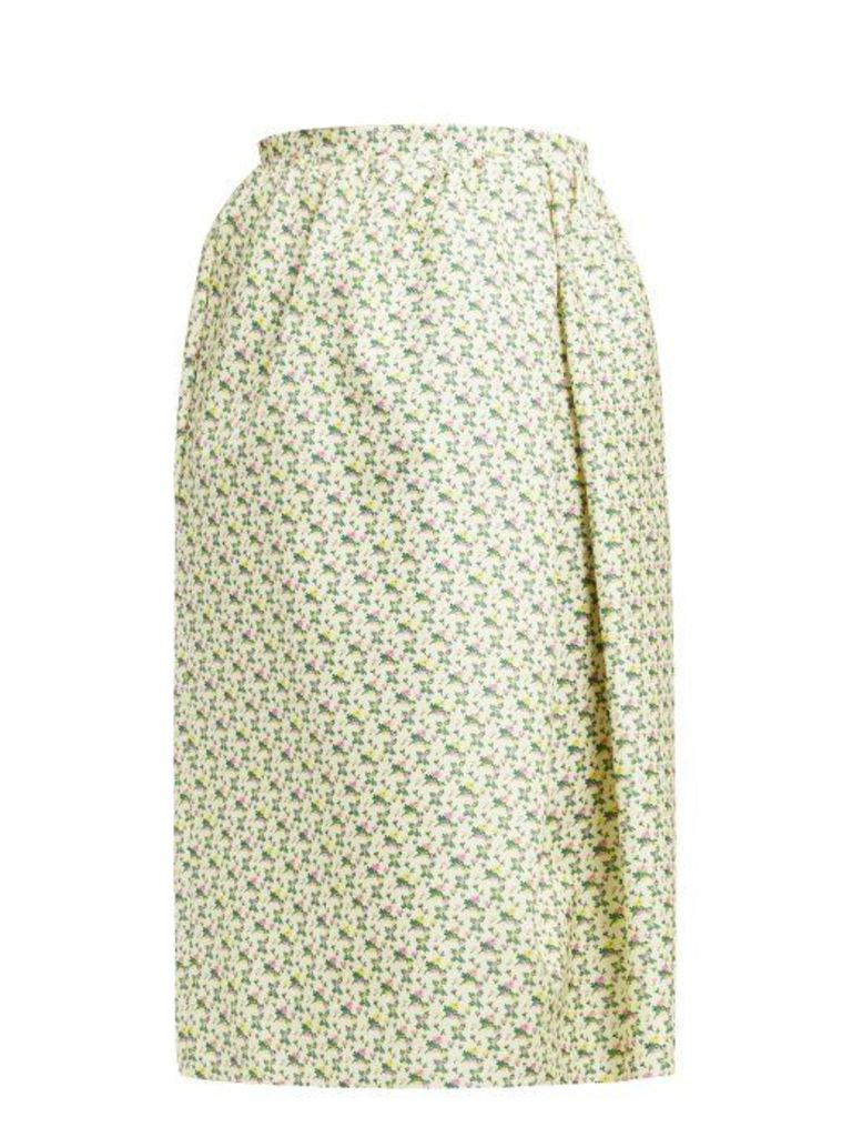 Rochas - Omorus Floral Print Silk Skirt - Womens - Green Multi