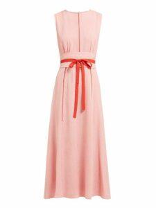 Cefinn - Tie Waist Pleated Voile Midi Dress - Womens - Pink Multi