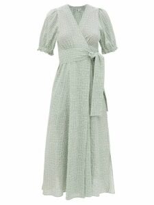 Pleats Please Issey Miyake - Abstract Print Pleated T Shirt Dress - Womens - White Black