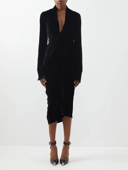 Emilia Wickstead - Leona Sardegana Rosewood Print Silk Dress - Womens - Yellow Multi