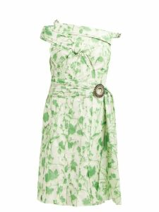 Calvin Klein 205w39nyc - Crystal Buckle Floral Print Taffeta Dress - Womens - Green White