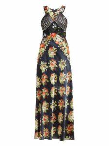 Paco Rabanne - Embellished Bodice Floral Print Satin Slip Dress - Womens - Black Multi