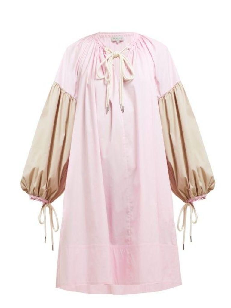 Lee Mathews - Elsie Balloon Sleeve Cotton Blend Dress - Womens - Pink Multi
