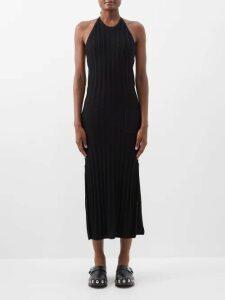 Maria Lucia Hohan - Derya Gathered Shoulder Silk Satin Maxi Dress - Womens - Red