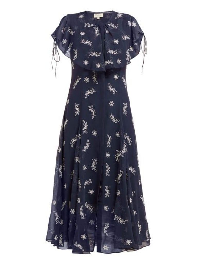 Beulah - Asmi Floral Broderie Anglaise Silk Midi Dress - Womens - Navy White
