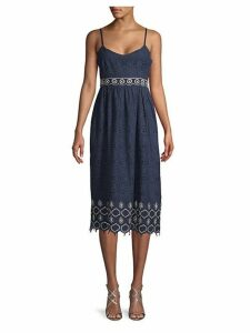 Embroidered Cotton A-Line Dress