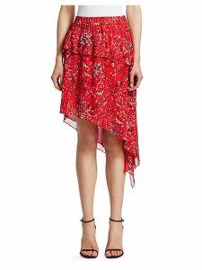 Blink Tiered Asymmetric Midi Skirt