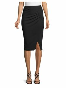 Ruched Knee-Length Pencil Skirt
