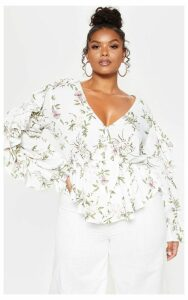 Plus White Floral Frill Sleeve Blouse, White