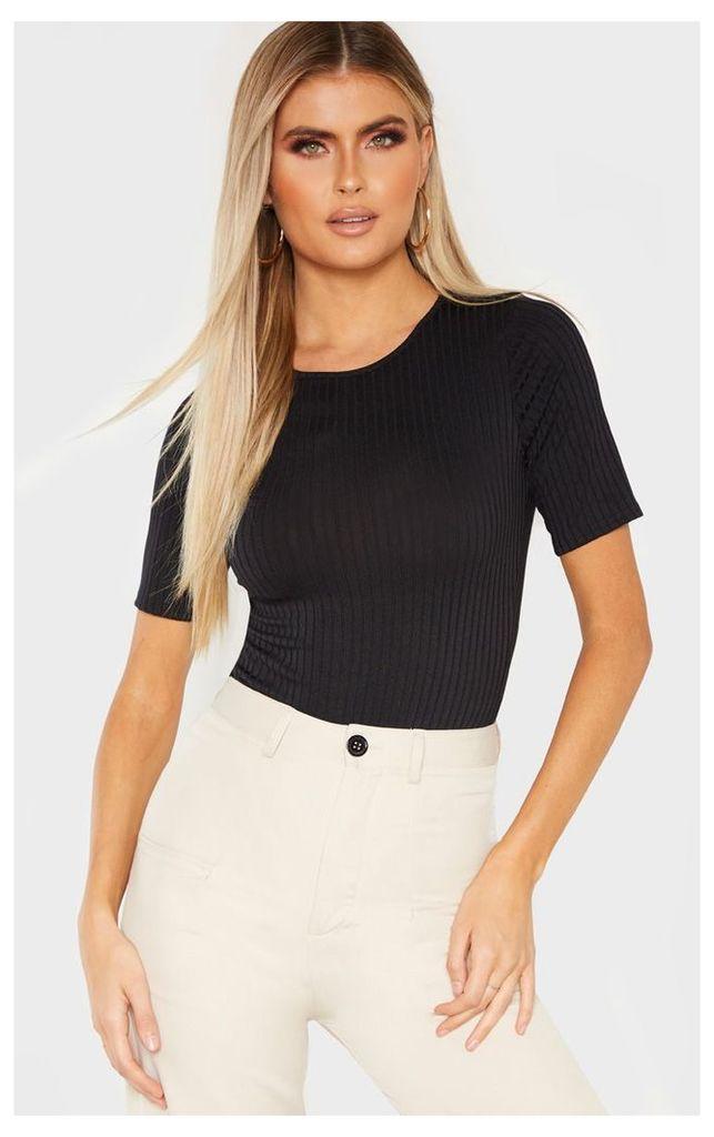 Tall Black Ribbed Short Sleeve Bodysuit, Black
