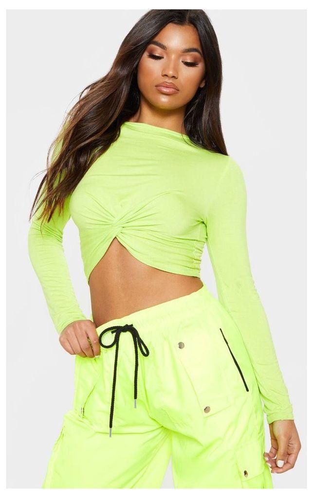 Neon Lime Long Sleeve Knot Hem Crop Top, Neon Lime