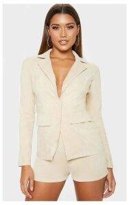 Stone Cord Pocket Detail Woven Blazer, White