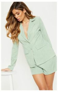 Sage Cord Pocket Detail Blazer, Sage Green