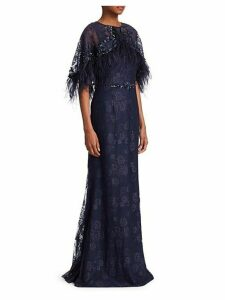 Popover Feather Mermaid Gown