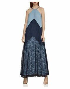 Bcbgmaxazria Color-Block Pleated Maxi Dress