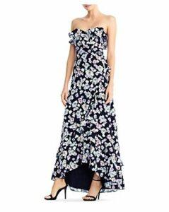 Aidan by Aidan Mattox Floral Flounce High/Low Maxi Dress