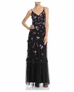 Adrianna Papell Embellished Tiered-Ruffle Gown