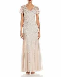 Adrianna Papell Beaded Godet Gown