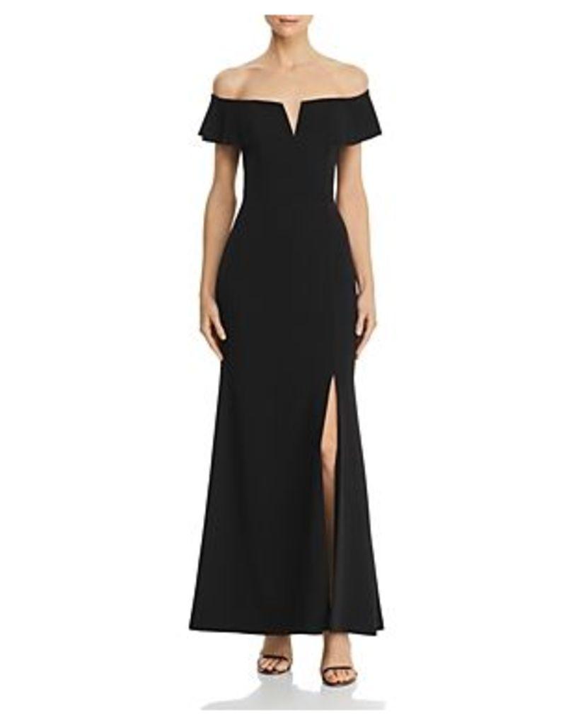 Aqua Off-the-Shoulder A-Line Gown - 100% Exclusive