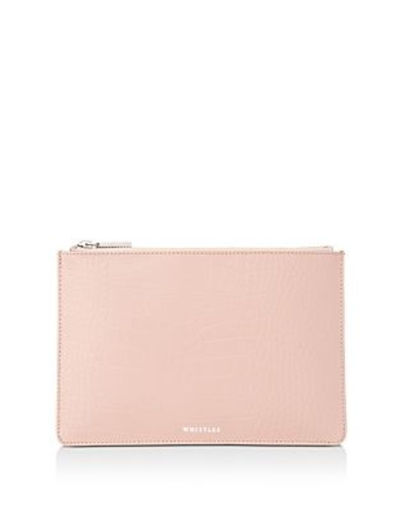 Whistles Small Croc-Embossed Clutch