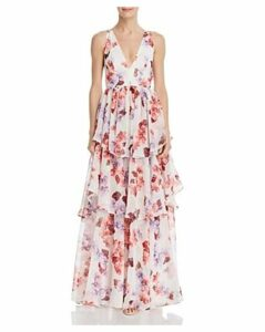 Fame & Partners Tiered Floral Gown