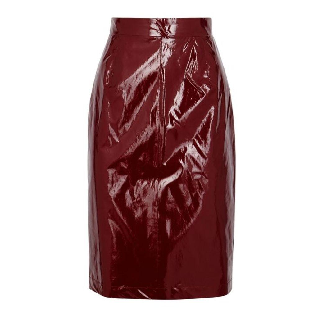 No.21 Burgundy Silk And PVC Pencil Skirt