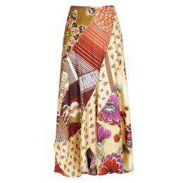 Chloé Contrast-print Silk Twill Skirt