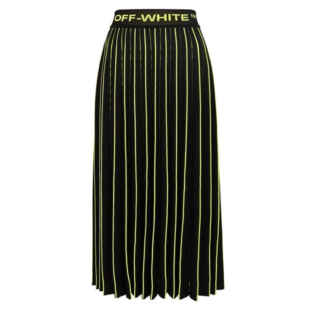 Off-White Black Pleated Stretch-knit Skirt