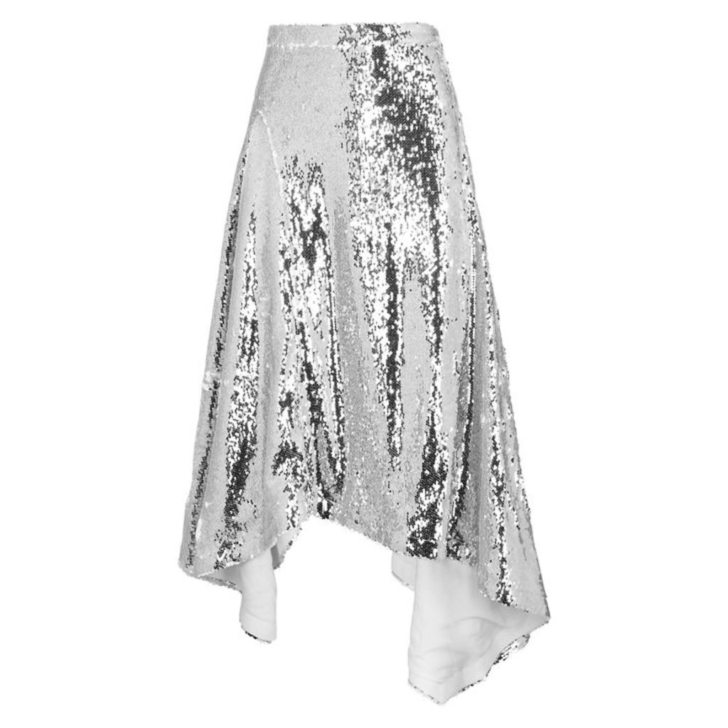 Walk Of Shame Silver Sequin Midi Skirt
